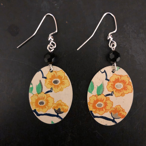 Orange and Yellow Floral Oval Tin Earrings with Beads