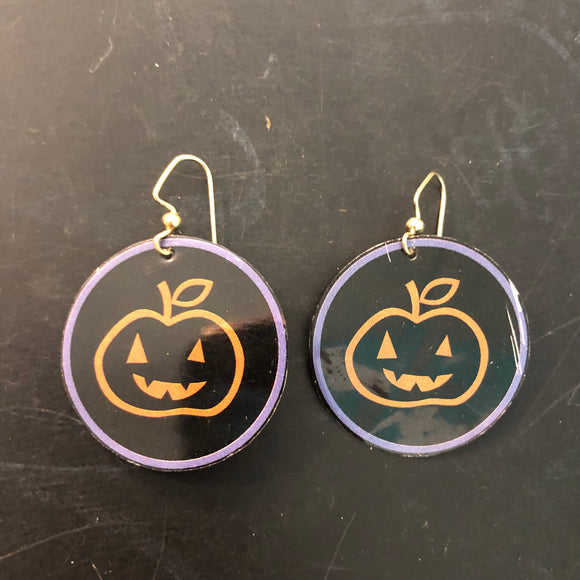 Smiley Pumpkin Circle Tin Earrings