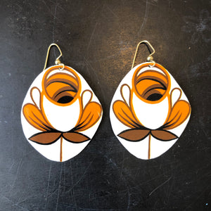 Orange and Brown Rose Tin Earrings