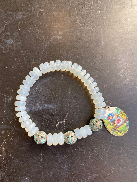 Frosted Glass Beads with Vintage Copper Tin Charm Bracelet