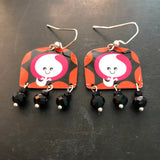 Ghost Tin Earrings with Beads