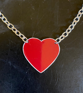 Red Heart Tin Necklace