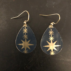 Midnight Blue Teardrop with Gold Stars Tin Earrings