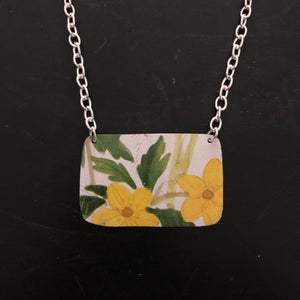 Yellow Floral and Greenery Tin Necklace
