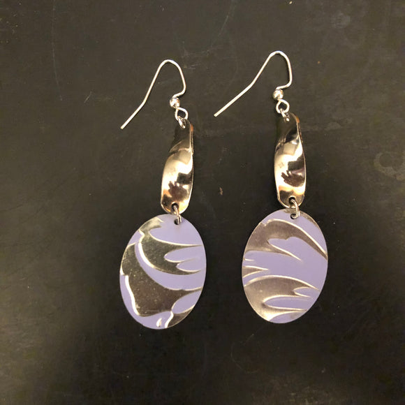 Lavender and Silver Abstract Floral Tin Earrings with Silver Links