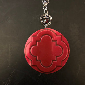Garnet Colored Quatrefoil Tin Necklace with Heart