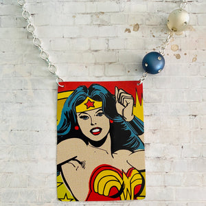 Wonder Woman in Action Tin Necklace with Beads
