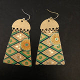 Emerald Green and Gold Rectangle with Gold Half Circle Tin Earrings