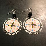 Dutch Inspired Hearts and Atomic Star Circle Tin Earrings