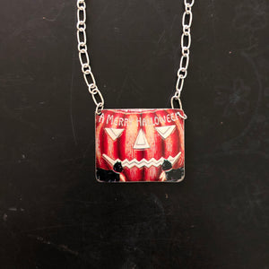 Scary Pumpkin Merry Halloween Tin Necklace