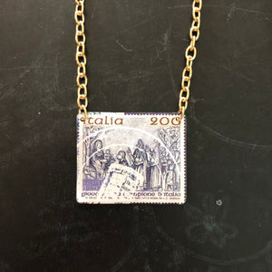 Cancelled Italia Postage Stamp Tin Necklace