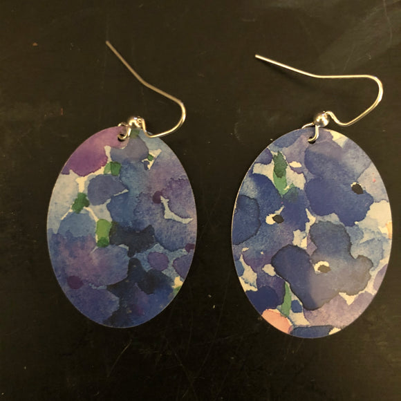 Blue and Purple Watercolor Floral Tin Earrings