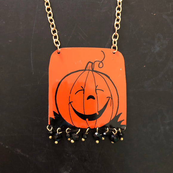 Laughing Pumpkin Tin Necklace with Beads