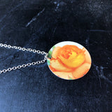 Orange Rose Circle Tin Necklace