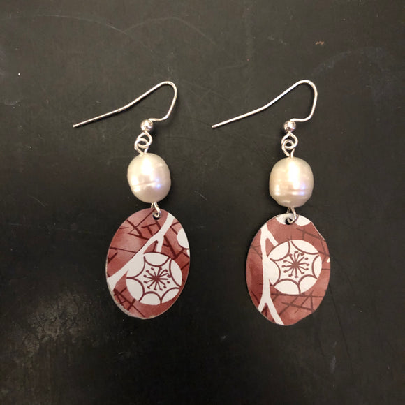 Red Cherry Blossom Teardrop Tin Earrings with Freshwater Pearls