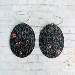 Black and White Hexagon with Flowers Oval Tin Earrings