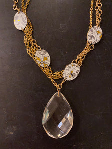 Multi Strand Gold with Oval Tin Necklace and Crystal
