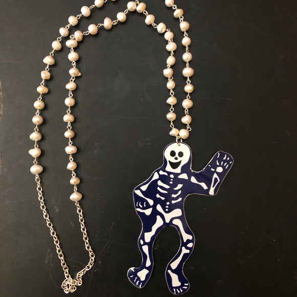 Skeleton with Freshwater Pearls Tin Necklace