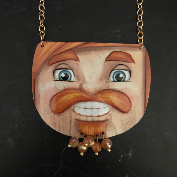 Ginger Bearded Nutcracker Tin Necklace