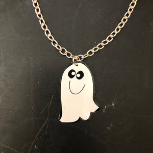 Small White Ghost Tin Necklace
