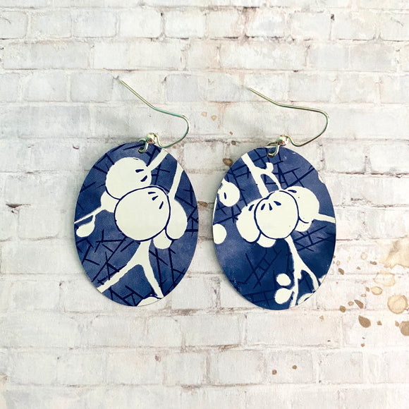 Blue with White Cherry Blossom Tin Earrings