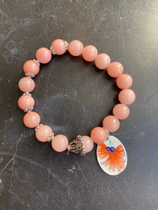 Pink Quartz and Silver Bead Floral Tin Charm Bracelet