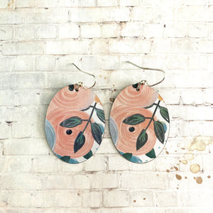 Pink and Orange Floral Tin Earrings