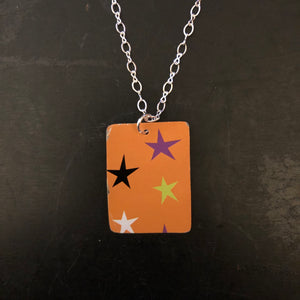 Orange with Stars Tin Necklace