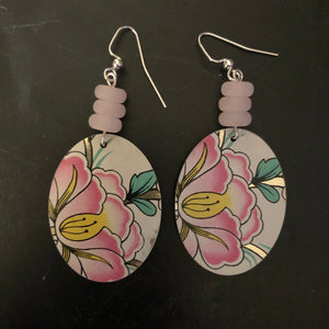 Pink and Yellow Flower Oval Tin Earrings with Beads