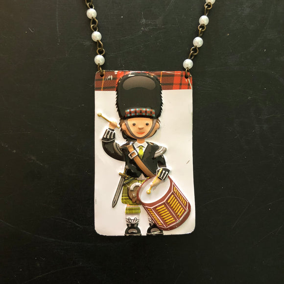 Green Plaid Drummer Tin Necklace
