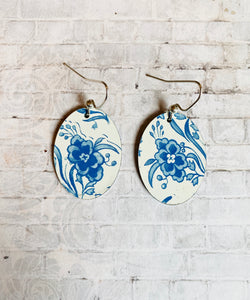 Blue and White Floral Oval Tin Earrings