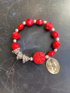Red Glass and Resin Bead Tin Charm Bracelet