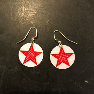 White Circle with Checked Star Tin Earrings