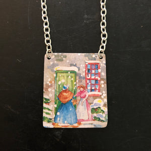 Snowy Greeting Tin Necklace