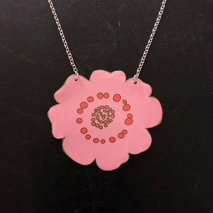 Large Pink Flower with Pink Center Tin Necklace