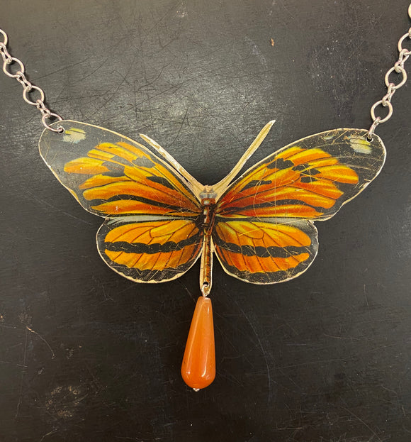Viceroy Butterfly Tin Necklace with Bead