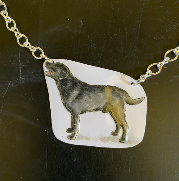 Black Labrador Tin Necklace