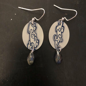 Clouds Oval Tin Earrings with Beads