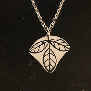 Single Black and White Leaf Tin Necklace