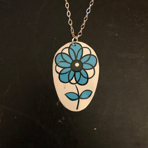 Blue and Black Midcentury Modern Rose Tin Necklace