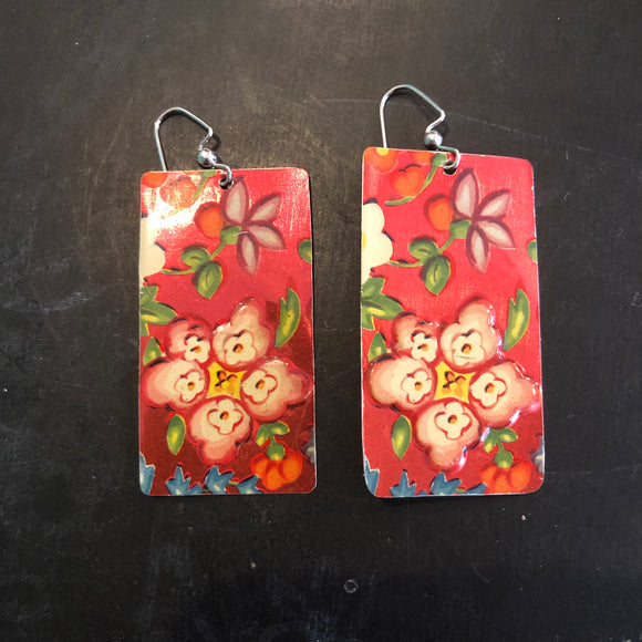 Pink and Red Rectangle Floral Tin Earrings