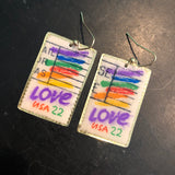 Love Stamp on Gold Tin Earrings