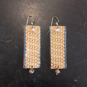 Blue with Dots Rectangle Tin Earrings