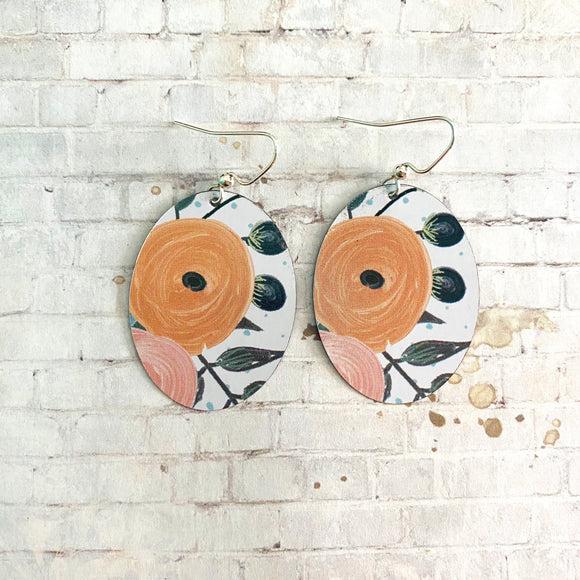 Orange Floral Tin Earrings