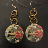 Hummingbird in Flower Tin Earrings with Chain