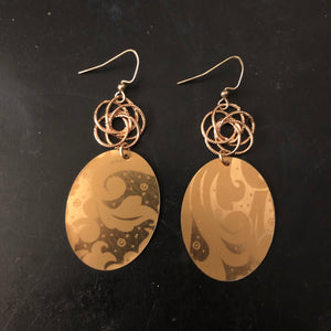 Gold Floral Tin Earrings with Open Gold Beads