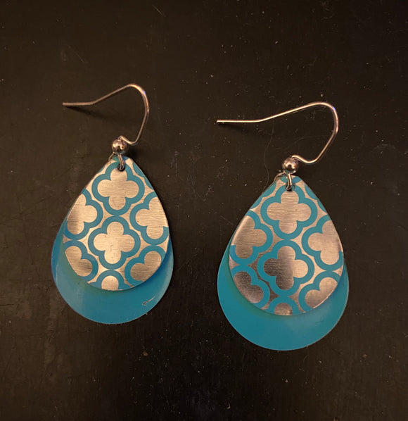 Layered Blue and Silver Quatrefoil Teardrop Tin Earrings