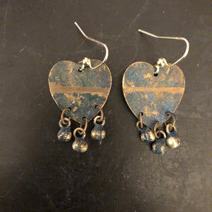 Distressed Classic Blue Hearts Tin Earrings