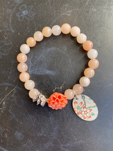 Opal Pink Beads with Resin Flower Tin Charm Bracelet