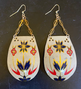 Navy and Red Floral Tin Earrings